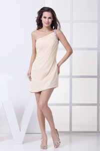 Pretty One Shoulder Champagne Junior Homecoming Dresses on Promotion