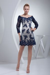 3/4 Sleeves Hug Shoulder Neck Navy Blue Homecoming Dress with Appliques