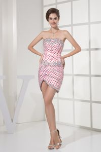 Polka Dots Red And White Mini Homecoming Dresses with Rhinestones