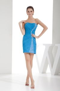Tight Short Ruched Beaded Mini Homecoming Cocktail Dresses in Teal
