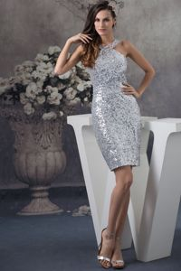 New Arrival Tight Straps Sequin Silver Mini Homecoming Dress for Sale