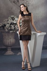 Leopard Print Mini Brown And Black Evening Homecoming Dress on Sale