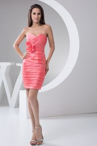 Sweetheart Ruched Watermelon Mini Evening Homecoming Dress for Sale