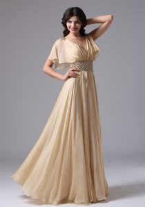 V-neck Champagne Chiffon Junior Maxi Homecoming Dresses Plus Size