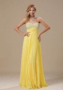 Pleated Beaded Yellow Long Party Dress for Homecoming under 150