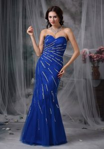 Lace-up Beaded Royal Blue Mermaid Evening Homecoming Dress on Sale