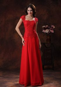 Square Neck Red Lace Chiffon Long Homecoming Dresses for Juniors