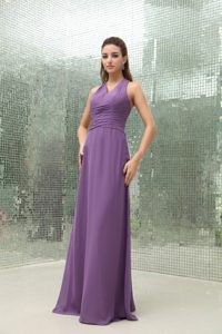 Crisscross Back Purple Chiffon Long Homecoming Dress for Sale
