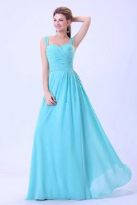 Straps Ruched Aqua Blue Long Party Dress for Homecoming Online Shop