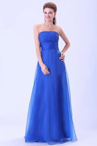 Cheap Strapless Blue Long Ruched Homecoming Dress in Cicero USA