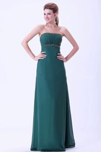 Hot Sale 2012 Dark Green Chiffon Long Homecoming Dresses Wholesale