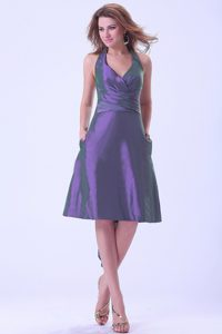 Low Price Halter Purple Knee-length Junior Homecoming Dresses with Sash