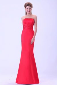 Popular Strapless Coral Red Mermaid Homecoming Dresses in Frankfort USA