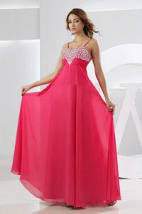 Zipper-up Hot Pink Homecoming Dress with Beads in Collinsville USA