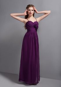 Spaghetti Straps Purple Long Homecoming Dresses with Handmade Flowers
