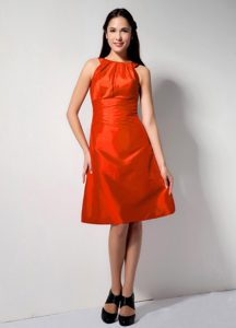 Knee-length Taffeta Red Homecoming Dance Dresses with Scoop Neck