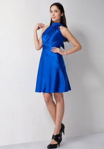 Cheap High-Neck Royal Blue Short Evening Homecoming Dress under 100
