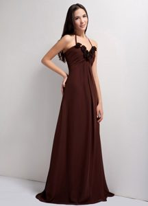 Plus Size Brush Train Halter Brown Homecoming Dresses Fast Shipping