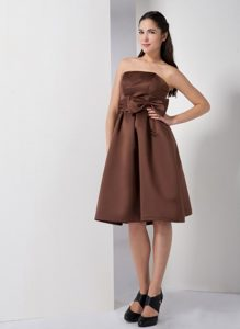 Affordable Brown Short Homecoming Dress with Bow in Danville USA