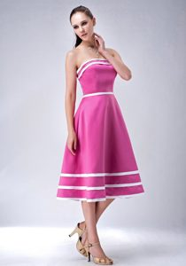 Strapless Hot Pink Tea-length Homecoming Dance Dresses under 100