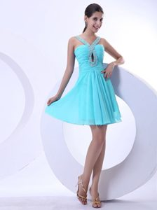 Straps Beaded Aqua Blue Mini Evening Homecoming Dress under 150