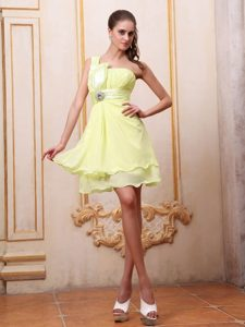 Chiffon One Shoulder Yellow Short Homecoming Cocktail Dress for Sale