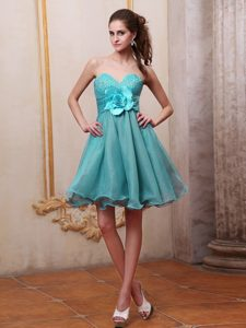 Newest Aqua Blue Short Party Dress for Homecoming with Beads and Flower