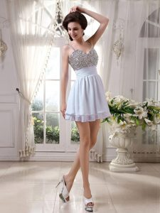 Chiffon Beaded White Vintage Homecoming Dress with Straps Oakland