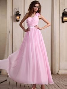 One Shoulder Baby Pink Junior Homecoming Dress with Ruches Novato