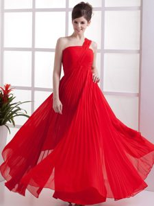 One Shoulder Red Homecoming Dress On Sale with Pleats Monterey