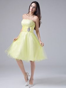 Strapless Light Yellow Beaded Designer Homecoming Dress with Ruches