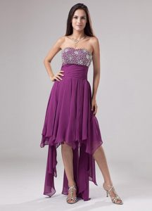 Beaded Fuchsia High-low Strapless Homecoming Princess Dress Napa