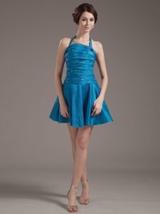 Ruched Halter Top Aqua Blue Homecoming Court Dress with Beading