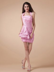 Rose Pink Ruched Halter Top Homecoming Dress On Sale Northridge