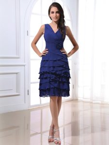 Royal Blue V-neck Chiffon Homecoming Dress For Juniors Monterey