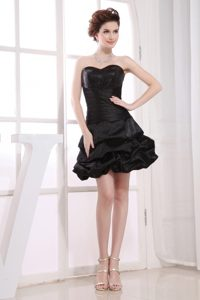 Sweetheart Black Taffeta Designer Homecoming Dress with Pick-ups
