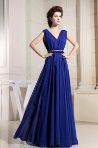 V-neck Chiffon Royal Blue Designer Homecoming Dress with Pleats