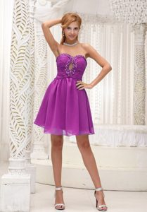 Ruched Purple Chiffon Homecoming Queen Dress with Beading Livermore