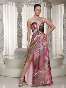 Sweetheart Junior Homecoming Dress with a High Slit in Printed Fabric