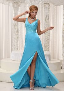 Beaded Aqua Blue Junior Homecoming Dress with Straps Laguna Beach