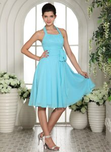 Davis Halter Top Aqua Blue Junior Homecoming Dress with a Sash