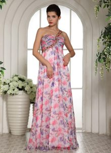 Beaded One Shoulder Homecoming Dance Dress in Printed Fabric Aptos