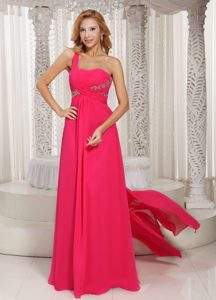 Ruched One Shoulder Hot Pink Homecoming Princess Dress Alhambra