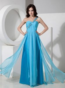Scottsdale One Shoulder Baby Blue Chiffon Homecoming Princess Dress