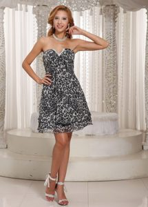 V-neck Junior Homecoming Dress in Leopard Print Fabric Gloucestershire