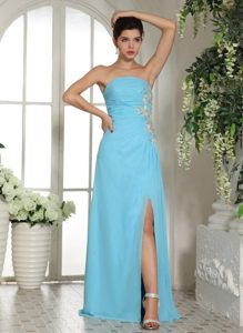 Strapless Beaded Chiffon Baby Blue Homecoming Queen Dress Berkshire