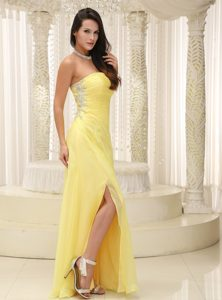 Fullerton Yellow Sheath Ruched Long Homecoming Dresses with High Slit
