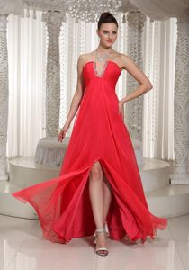 Dublin Coral Red V-neck Beaded Inexpensive Long Homecoming Dresses