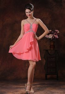 V-neck Empire Chiffon Tucson Homecoming Dresses on Sale with Beading