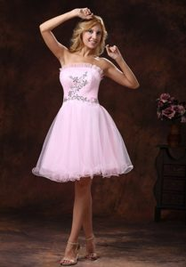 Strapless Beaded Baby Pink Princess Organza Auburn Homecoming Dress